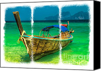 Thai Canvas Prints - Triptych Longboat Canvas Print by Adrian Evans