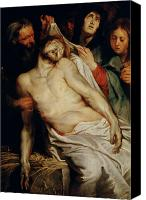 Magdalene Canvas Prints - Triptych of Christ on the Straw Canvas Print by Rubens