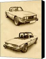 Drawing Canvas Prints - Triumph Stag Canvas Print by Michael Tompsett