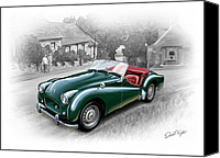Sports Art Digital Art Canvas Prints - Triumph TR-2 Sports Car Canvas Print by David Kyte