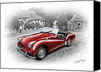 Sports Art Digital Art Canvas Prints - Triumph TR-2 Sports Car in Red Canvas Print by David Kyte
