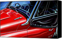 British Car Canvas Prints - Triumph TR-3 Sports Car Detail Canvas Print by David Kyte