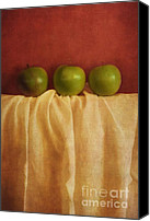 Still Life Digital Art Canvas Prints - Trois Pommes Canvas Print by Priska Wettstein