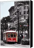 Trolley Canvas Prints - Trolley on Bourbon and Canal  Canvas Print by Tammy Wetzel