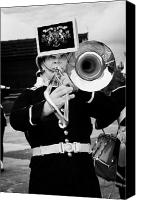 Brass Band Canvas Prints - trombone player of the band of HM Royal Marines Scotland at Armed Forces Day 2010 Canvas Print by Joe Fox