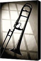 Canvas Wrap Canvas Prints - Trombone Silhouette and Window Canvas Print by M K  Miller
