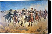 Pioneers Painting Canvas Prints - Troopers Moving Canvas Print by Frederic Remington