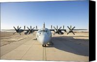 Operation Iraqi Freedom Canvas Prints - Troops Stand On The Wings Of A C-130 Canvas Print by Terry Moore