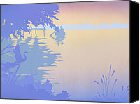 1980s Canvas Prints - tropical boat Dock Sunset large pop art nouveau retro 80s 1980s florida landscape seascape painting Canvas Print by Walt Curlee