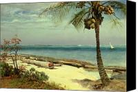 Tropical Beach Canvas Prints - Tropical Coast Canvas Print by Albert Bierstadt