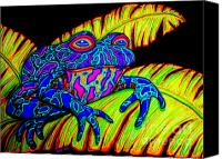 Frog Art Canvas Prints - Tropical Frog Canvas Print by Nick Gustafson