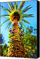 Tall Trees Canvas Prints - Tropical Palm Tree Painting Canvas Print by Tracie Kaska