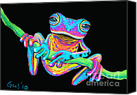 Frog Art Canvas Prints - Tropical Rainbow frog on a vine Canvas Print by Nick Gustafson