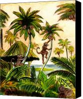 Monkeys Canvas Prints - Tropical Scene Canvas Print by John Keaton
