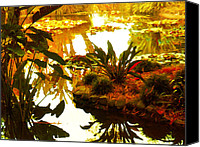 Pond Canvas Prints - Tropical Water Garden Canvas Print by Amy Vangsgard