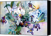 Color Mixed Media Canvas Prints - Tropical White Orchids Canvas Print by Mindy Newman