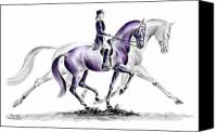 Dressage Canvas Prints - Trot On - Dressage Horse Print color tinted Canvas Print by Kelli Swan