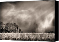Raining Canvas Prints - Trouble Brewing BW Canvas Print by JC Findley