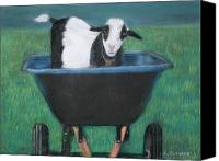 Goat Pastels Canvas Prints - Trouble in a Wheelbarrow Canvas Print by Linda Scharck