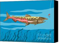 Trout Digital Art Canvas Prints - Trout Fish Retro Canvas Print by Aloysius Patrimonio