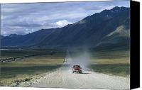 Dirt Roads Photo Canvas Prints - Truck On The Dalton Highway Following Canvas Print by Rich Reid
