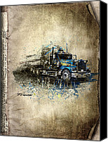 Transportation Mixed Media Canvas Prints - Truck Canvas Print by Svetlana Sewell