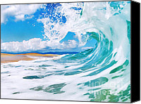 Surf Art Canvas Prints - True Blue Canvas Print by Paul Topp