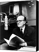 Capote Canvas Prints - Truman Capote In Studio For A Christmas Canvas Print by Everett