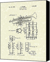 Brass Band Canvas Prints - Trumpet 1939 Patent Art  Canvas Print by Prior Art Design