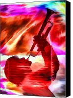 Brass Digital Art Canvas Prints - Trumpet Player Canvas Print by David Ridley