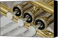 Notes Canvas Prints - Trumpet Valves Canvas Print by Frank Tschakert