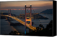 Industrial Ship Canvas Prints - Tsing Ma Bridge After Sunset Canvas Print by Mark Simons Photography