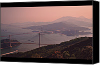 Hong Kong Canvas Prints - Tsing Ma Bridge And Ting Kau Bridge In Hong Kong Canvas Print by Yiu Yu Hoi