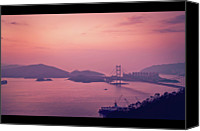 Hong Kong Canvas Prints - Tsing Ma Bridge In Hong Kong At Dusk Canvas Print by Yiu Yu Hoi
