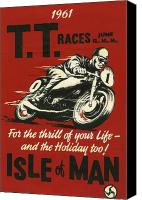 Tourist Canvas Prints - TT Races 1961 Canvas Print by Nomad Art And  Design