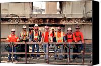 Downtown Los Angeles Canvas Prints - TTP Workers on 1st Street Renovation  Canvas Print by Kevin  Break