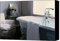 Grey Painting Canvas Prints - Tub in Grey Canvas Print by Patti Siehien