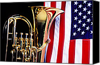 Red White Blue Canvas Prints - Tuba and American flag Canvas Print by Garry Gay