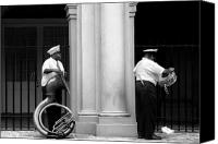 Tuba Canvas Prints - Tuba Player and Drummer Canvas Print by Todd Fox
