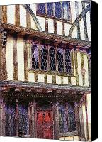 Stain Glass Digital Art Canvas Prints - Tudor House Canvas Print by Mindy Newman