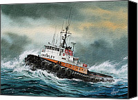 Tugboat Canvas Prints - Tugboat HUNTER CROWLEY Canvas Print by James Williamson