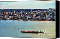 New York Harbor Canvas Prints - Tugboat on the Hudson Canvas Print by Paul Ward