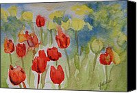 Tulips Canvas Prints - Tulip Field Canvas Print by Gretchen Bjornson