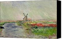 Impressionism Canvas Prints - Tulip Field in Holland Canvas Print by Claude Monet