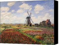 Impressionism Canvas Prints - Tulip Fields with the Rijnsburg Windmill Canvas Print by Claude Monet