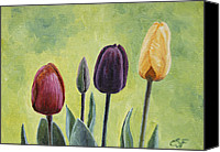 Blooms Painting Canvas Prints - Tulip Trio Canvas Print by Crista Forest