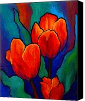 Landscape Painting Canvas Prints - Tulip Trio Canvas Print by Marion Rose