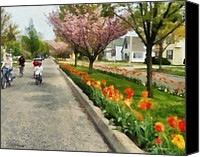 Fun Houses Canvas Prints - Tulips on the Boulevard Holland Michigan Canvas Print by Michelle Calkins