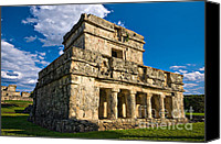 Maya Canvas Prints - Tulum Temple Canvas Print by Meirion Matthias