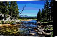 Alpine Mixed Media Canvas Prints - Tuolumne River Canvas Print by Les Mayers